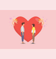 loving couple with cupids prepare to shoot his bow vector image