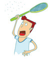 man use electrical racket to kill mosquitoes vector image vector image