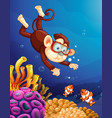 monkey diving under ocean vector image vector image
