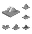 mountains massive monochrome icons in set vector image