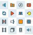 multimedia icons colored line set with mute video vector image vector image