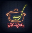 pan with ladle neon sign kitchen spoon in a vector image