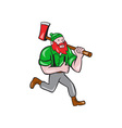 Paul Bunyan Lumberjack Axe Running Cartoon vector image