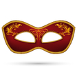 Red mask with golden braid vector image vector image