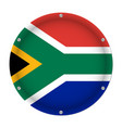 round metallic flag of south africa with screws vector image