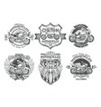 set black vintage badges emblems with a vector image vector image