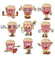 set cartoon happy popcorn basket vector image vector image