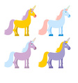 Set of colored unicorn Pink fantasy beast Blue vector image vector image