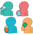 set of man drinking vector image