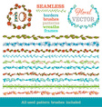 set of seamless hand-drawn floral borders vector image vector image