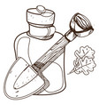 shovel and glass jar objects traveler hunter vector image