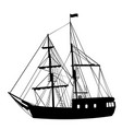 silhouette of sailing ship on white background vector image