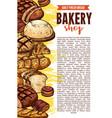 sketch bakery shop bread poster vector image vector image