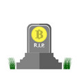 stone monument of bitcoin and green grass on white vector image
