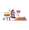 teenager in skate park rollerdrome perform stunt vector image