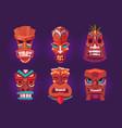 tiki masks wooden hawaiian tribal totem vector image vector image