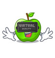 virtual reality perfect fresh green apple on vector image