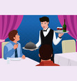 waiter in a restaurant serving customers vector image vector image