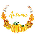 watercolor autumn wreath vector image