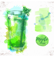 Watercolor cocktail mojito sketch vector image