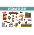 welcome to cuba promotional poster with cultural vector image vector image