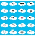 white clouds with smiley faces vector image vector image