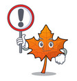 with sign red maple leaf character cartoon vector image