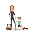 Woman child isolated cartoon people Mother and vector image