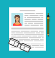 writing a business cv resume vector image vector image
