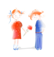 A Little Girl Presenting Flowers to a Boy vector image