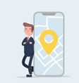 businessman and smartphone with map on the screen vector image