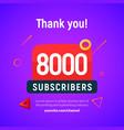 8000 followers post 8k celebration seven vector image vector image