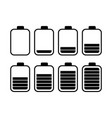 a set of eight batteries with different charge ind vector image vector image