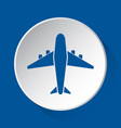 airliner with engines - blue icon on white button vector image vector image