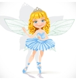 Beautiful little fairy girl in tiara and blue vector image vector image