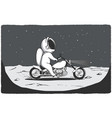 biker astronaut rides on surface of planet vector image