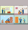 boss working in office speaking to employees vector image vector image
