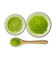 bowl and bamboo spoon of matcha powder green tea vector image vector image