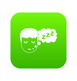 boy head with speech bubble icon digital green vector image
