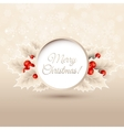 christmas background with holly vector image vector image