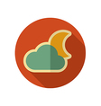 Cloud Moon retro flat icon Meteorology Weather vector image