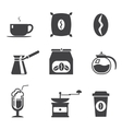 Coffe modern trendy silhouette isolated icons set vector image vector image