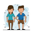 color background with faceless couple and him in vector image vector image