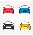 Cute cars icons sign front view set