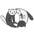 cute funny cartoon yin and yan cats symbol vector image vector image