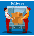 Delivery Van Delivery man with Box Delivery vector image vector image