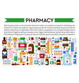 drug store or pharmacy banner medicines and pills vector image vector image