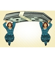 Female caryatids holding bundle of dollars vector image vector image
