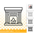 fireplace simple open fire black line icon vector image vector image