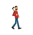 flat of bearded woodcutter vector image